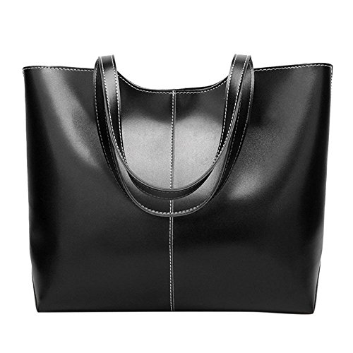 Totes Widewing Simple Oil Leather Big Capacity Shoulder Black Wax Handbag Women Shopping rvBxAq5wr