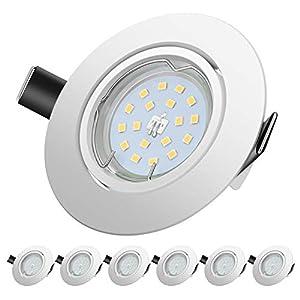 Faretti LED da Incasso per cartongesso,5 W Equivalenti a 60 W, Naturale Bianco Freddo 4500K 600LM orientabili 120 Gradi… 41De8QvwnJL. SS300