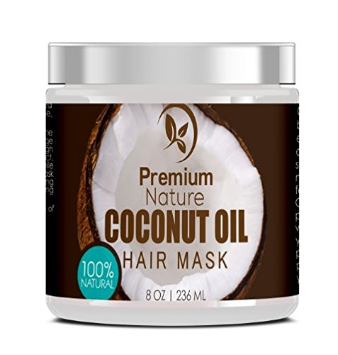 Coconut Oil Hair Mask Conditioner - 8 oz 100% Natural Deep Leave In Conditioner - Sulfate Free Damaged Hair Treatment - Moisturizing Intensive Repair Restores Shine & Nourishes Scalp Premium Nature (Leave In Moisturizing Conditioner)