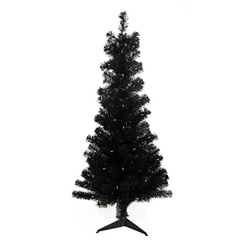 Northlight Pre-Lit Slim Black Artificial Tinsel Christmas Tree with Clear Lights, 4' x 29