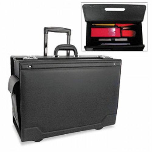 Wheeled Catalog Case, Leather-Trimmed Tufide, 21-3/4 x 15-1/2 x 9-3/4, Black