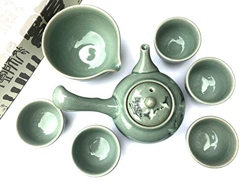 Teaset Korean 'pinetree crane' Gift Boxed / Teapot+5 Cups+sookwoo / Hand-made
