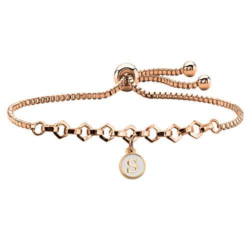 FUSTMW Rose Gold Initial Charm Bracelet Letters Alphabet Adjustable Bracelet for Women Girls (S)]()