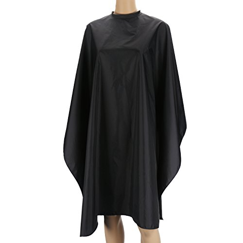 Price comparison product image Lightweight Nylon Cape for Cutting Hair, Black Smock for Salon Hair Color Shampoo Makeup, Hook and Loop Closure Static Free Water Resisitant Hairdress Apron Black Cloak, Large Long Back Length