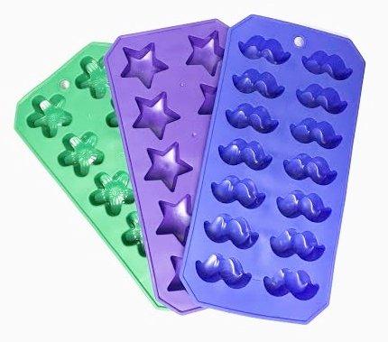 Goodcook Silicone Colorful Silicone Ice Cube Trays - Shamrocks, Stars & Mustaches (1 Set of 3 Trays)