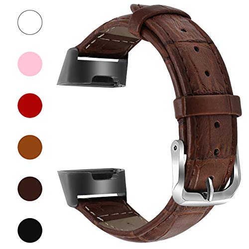 Fitlink Bands Compatible Fitbit Charge 3 / Charge 3 SE for Women Men, Classic Genuine Leather Wristbands with Metal Connectors Replacement Bands Accessories for Fitbit Charge 3, Small and Large,Brown
