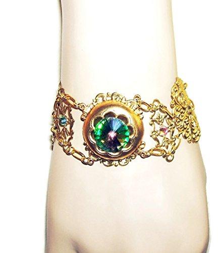 VITRAIL GLASS RHINESTONE BRACELET Gold Plated Filgree Artisan Victorian Design