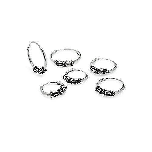 Balinese Endless Hoop Earrings Sterling Silver Set Of 10mm 12mm 14mm For Cartilage Nose Lips