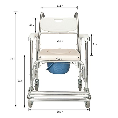 - All Goodly 4-in-1 Multi-Function Commode Bath/Shower Wheelchair (White)