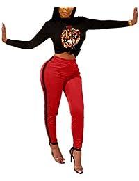 Women s 2 Piece Outfits Plus Size Black Crop Top High Waist Bodycon Long  Pants Rompers f9f87750c0d2
