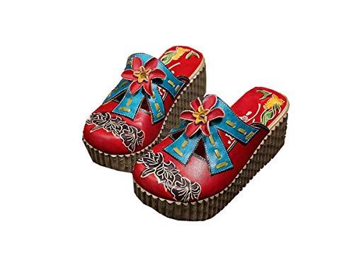 Mujer Cuero Bohemian Rsheng Arco Con Handmade Inferiores Redonda Casuales Muffins Muffin Ir Al Zapatos Para Gruesos Cabeza Rojo Cita Flower Trabajo Empalme E De 7qxftq