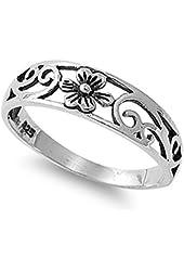 VE-01032 Sterling Silver Flower Filigree Band Ring
