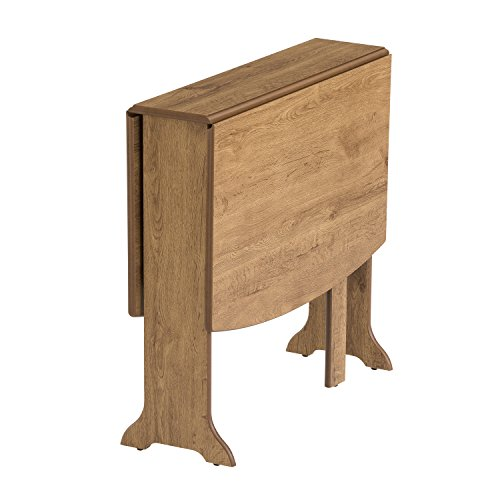 Mood Furniture HEATPROOF D-End Gateleg Gate Leg Drop Leaf Table in Warm Oak - Folding Table for Small Spaces – Tufftop Heat Resistant Surface - Dining or...