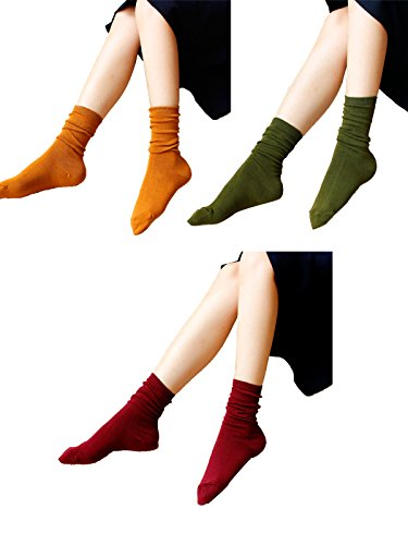 [Zando Women Colorful Patterned Fashion Cotton Cushioned Youth Casual Crew Socks Mix Color-3 Pairs B] (Jackie Nurse Shoes)