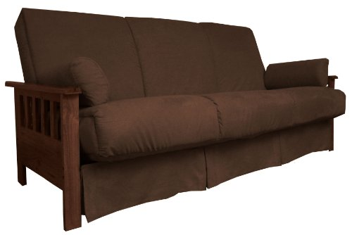Berkeley Perfect Sit & Sleep Pocketed Coil Inner Spring Pillow Top Sofa Sleeper Bed, Queen-size, Walnut Arm Finish, Microfiber Suede Chocolate Brown (Arm Sleeper Sofa)