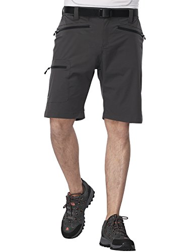 MIERSPORT Men's Travel Cargo Short Lightweight Water Resistant Hiking Short with 5 Pockets, Quick Dry, Side Elastic Waist