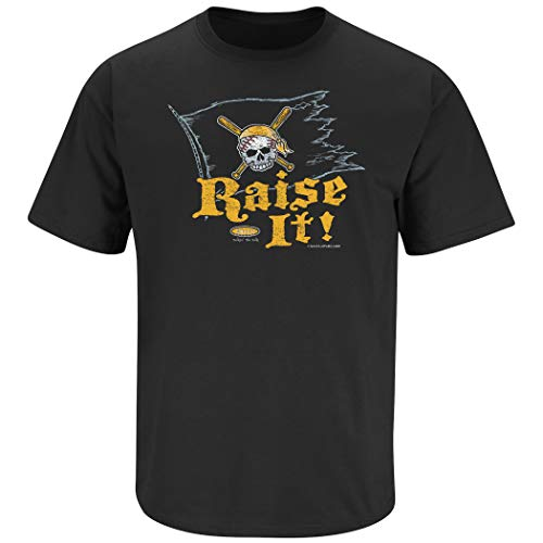 Pittsburgh Baseball Fans. Raise It! Black T-Shirt (S-5X) (Short Sleeve, Large) Black Pittsburgh Pirates Shirt