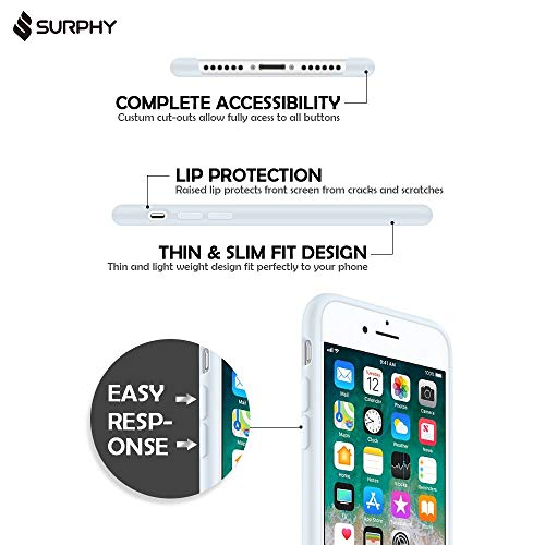 """SURPHY Silicone Case for iPhone 8 Plus/iPhone 7 Plus Case, Soft Liquid Silicone Rubber Slim Phone Case Cover with Microfiber Lining for iPhone 7 Plus iPhone 8 Plus 5.5"""", Sky Blue"""