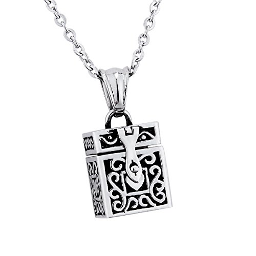 (Stainless Steel Cuboid Prayer Box Locket Pendant Necklace Memorial)