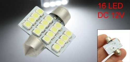 Amazon.com: eDealMax 12V blancos 1,25 31mm 16-SMD Luces DE3175 DE3022 bombillas LED Para el coche Dome: Automotive