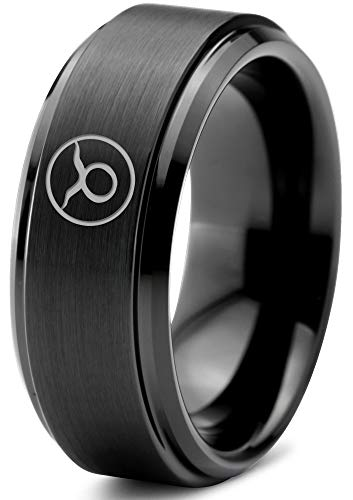 Zealot Jewelry Tungsten Horoscope Taurus Band Ring 8mm Men Women Comfort Fit Black Step Bevel Edge Brushed Polished Size 10