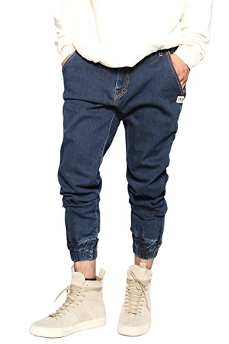 "Discount TheMogan Men's Harem Washed Denim & Camoflage Twill Jogger Pants Crop Jeans 27"" for cheap"