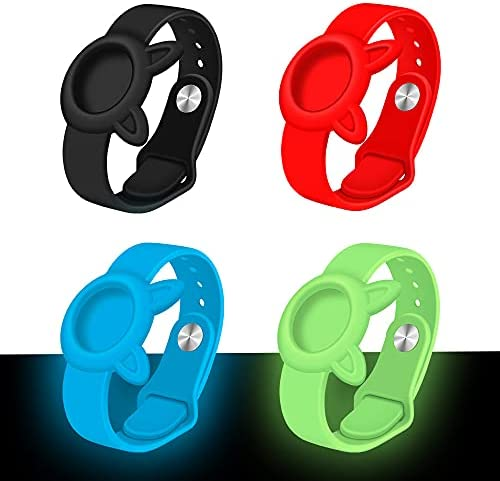 4 Pack Protective Case for Apple Airtag 2021 Silicone Band Bracelet GPS Anti-lost, Adjustable Soft Silicone Cover AirTag Watch Strap, Positioning Airtags GPS Tracker Wristband for Children/Old Man Watch Bands