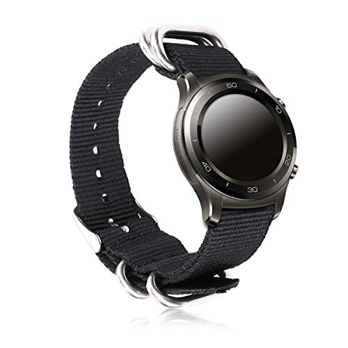 kwmobile Bracelet for Huawei Watch/Nokia Steel HR (36mm) - Nylon Watch Band Fitness Wristband in Black