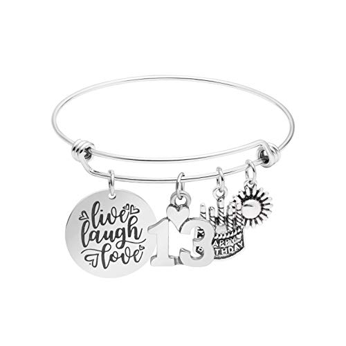Awegift 13th Birthday Gifts for Women Girls Live Laugh Love Cake Charms Expandable Stainless Steel Bracelet Gift Jewelry for Her