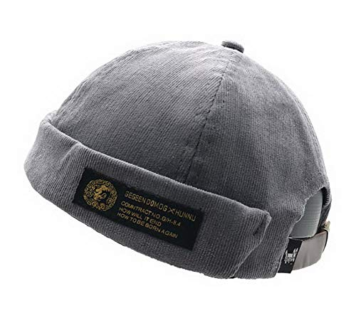 Zegoo Solid Color Cotton Short Beanie Casual Hat Soft Cap Grey