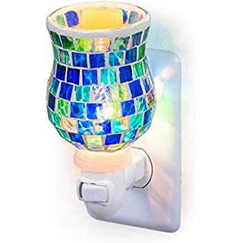 Dawhud Direct Mosaic Glass Plug-in Fragrance Wax Melt Warmers (Ocean Blue)