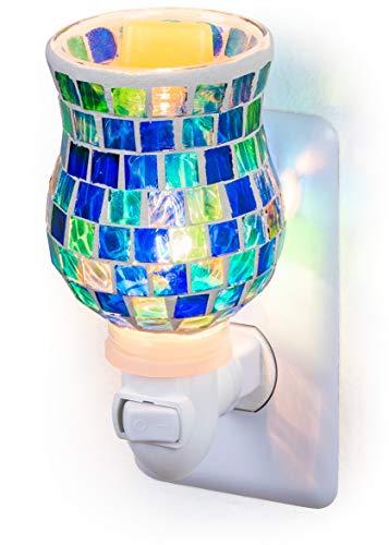 Dawhud Direct Mosaic Glass Plug-in Fragrance Wax Melt Warmers (Ocean Blue) ()