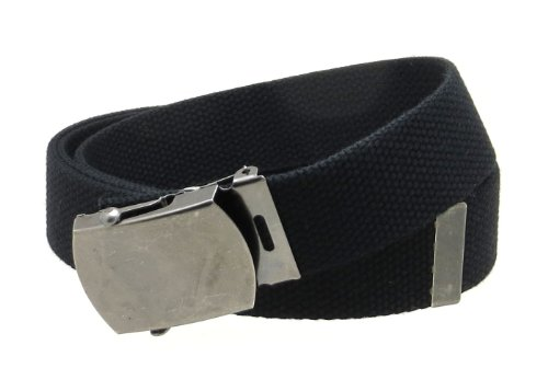 (Canvas Web Belt Military Style Antique Silver Buckle/Tip Solid Color 50