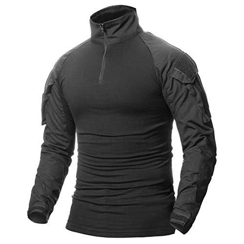 CARWORNIC Mens Assault Military Tactical Combat Shirt Long Sleeve Outdoor Army T Shirt