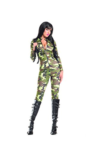 Adult Women's 2 Piece Camouflage Army Babe Jumpsuit Halloween Party Costume - Adult Army Brat Plus Size Costumes