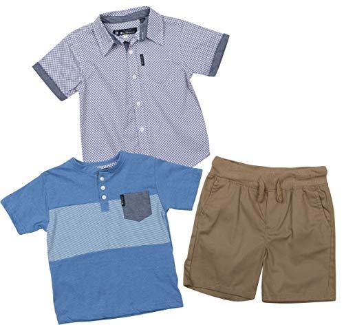 (Ben Sherman Boys 3 Piece Short Sleeve Shirt, T-Shirt, and Twill Short Set (Khaki/Blue/Blue, 7)')
