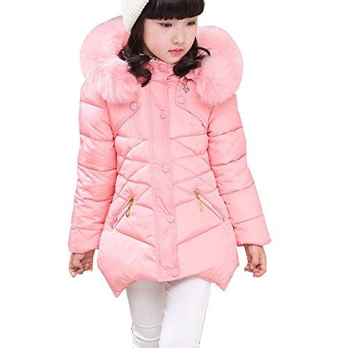 Coat Girls Hooded (Ruogu Girls Winter Coat,Toddler Kids Cotton Jackets Snowsuit Hooded Windbreaker Outwear with Soft Fur Hoodies for Girls (Pink, 7T (Height:49.6