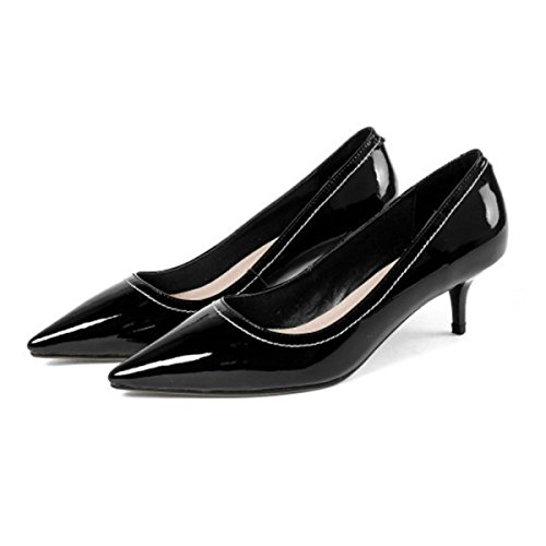 Mujeres Oficina Zapatos Boda De Aguja Alto Negro Las Bombas Black Tacón  Señoras Gatito 3 Femenino ... cb02baf94033