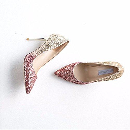HXVU56546 Las Damas Zapatos De Tacones Altos Gradientes De Moda Finos Zapatos Puntiagudos Sequined Prom Zapatos Purple gold