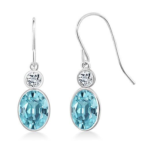 Gem Stone King 2.68 Ct Oval Blue Zircon White Topaz 14K White Gold Earrings - Zircon Earrings