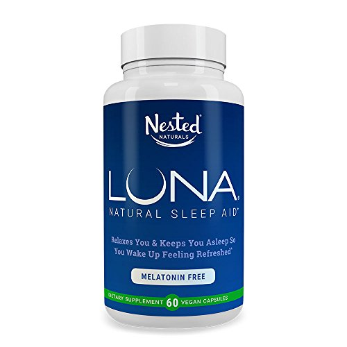 LUNA Melatonin-Free | 60 Capsules | Naturally Sourced Sleep Aid Without Melatonin | Valerian, Chamomile Extract, Lemon Balm, Herbs & More | Gentle Herbal Sleeping Aid Pill | Vegan, Non-GMO Supplement ()