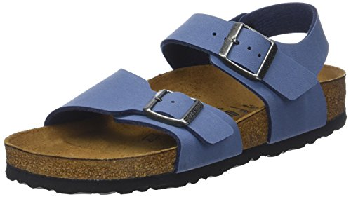 Birkenstock Boys' New York Sling Back Sandals, Blue (Nubuck Vintage Blue Nubuck Vintage Blue), 3.5 UK/36 EU