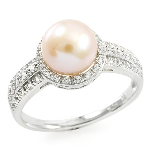 Glamouresq Sterling Silver 8mm Cultured Pink Freshwater Pearl & Created White Sapphire Women's Ring, Size (Estate Ring)
