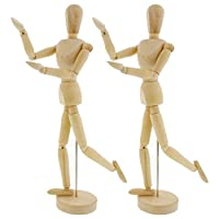 """US Art Supply Wood 12"""" Artist Drawing Manikin Articulated Mannequin with Base and Flexible Body - Perfect for Drawing The Human Figure (12"""" Male) Pack of 2 Manikins"""