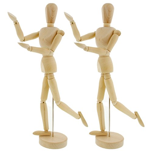 US Art Supply Wood 12'' Artist Drawing Manikin Articulated Mannequin with Base and Flexible Body - Perfect For Drawing the Human Figure (12'' Male) Pack of 2 Manikins by US Art Supply