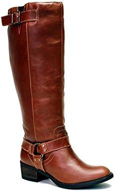 5b75a4b452f4 VESTITURE Women s Alamo Cognac Extra Wide Calf Riding Boot
