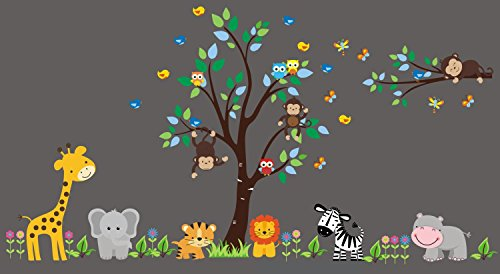 Zoo Animal Stickers - Peel and Stick Wall Decals - Nursery Decor - Large Decals