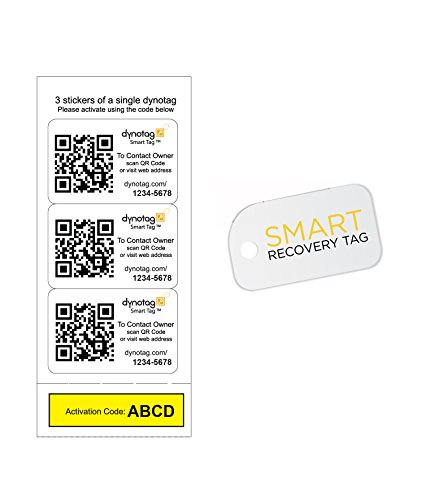 Dynotag Web/GPS Enabled QR Code Smart Tags. 3 Tough Identical Stickers + 1 Keychain Mini Tag