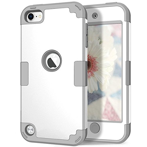 iPod 6th/5th Generation Case, Hocase Heavy Duty Protection Shock Absorbent Silicone Hard Plastic Full Body Protective Case for iPod Model A1574/A1509/A1421 - White/Grey (Ipod 5 Color Gray Case)