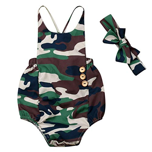 Camouflage Cotton Onesie - Newborn Baby Boy Girl Bodysuit Onesies Overalls Romper Camo Back Cross Bib Jumpsuit Outfits Clothes (camo Onesies with Headband, 9-12 Months)